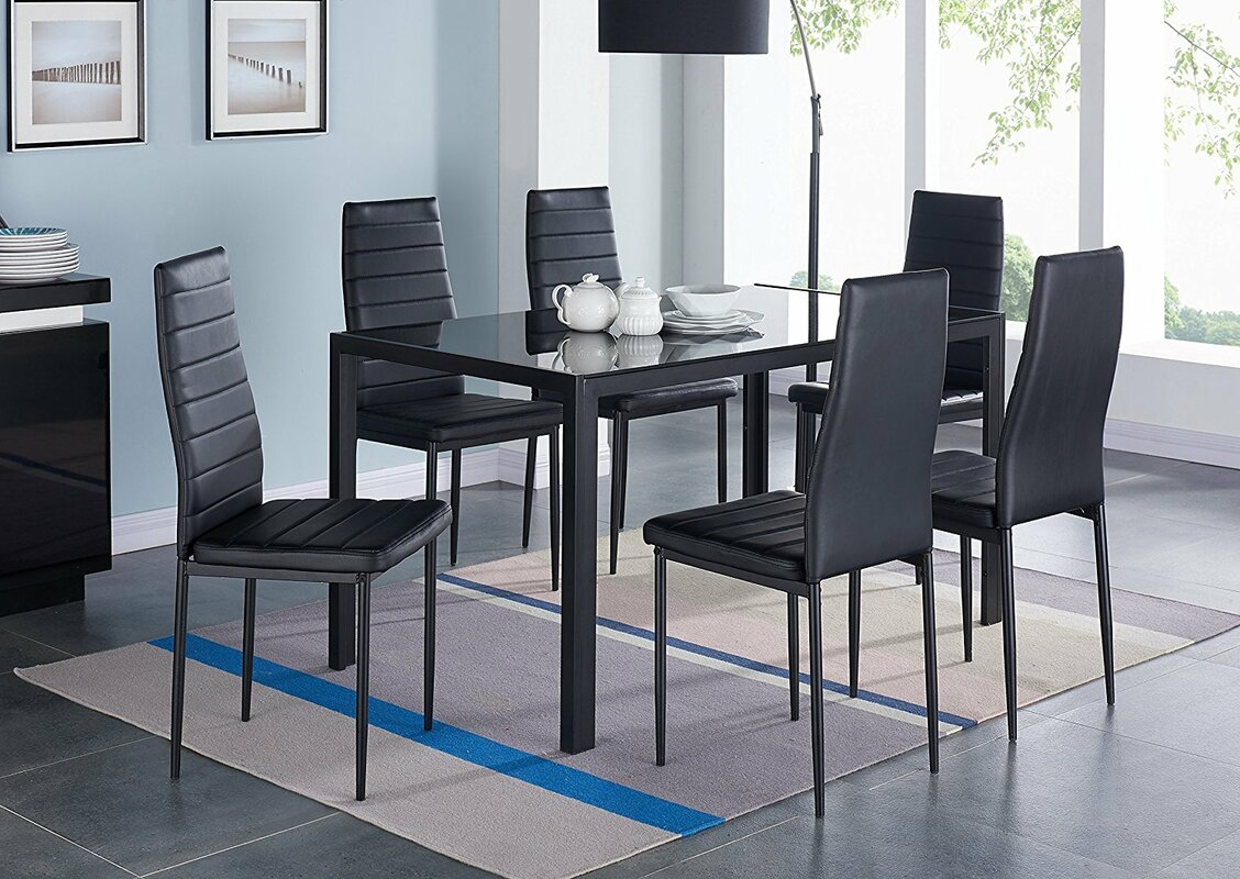Sofas amp sectionals bedroom dining room chairs amp stools rugs accents - Modern Glass 7 Piece Dining Table Set