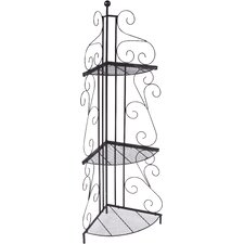 3-Tier Free-Standing Black Metal 50 Corner Unit by Trademark Innovations