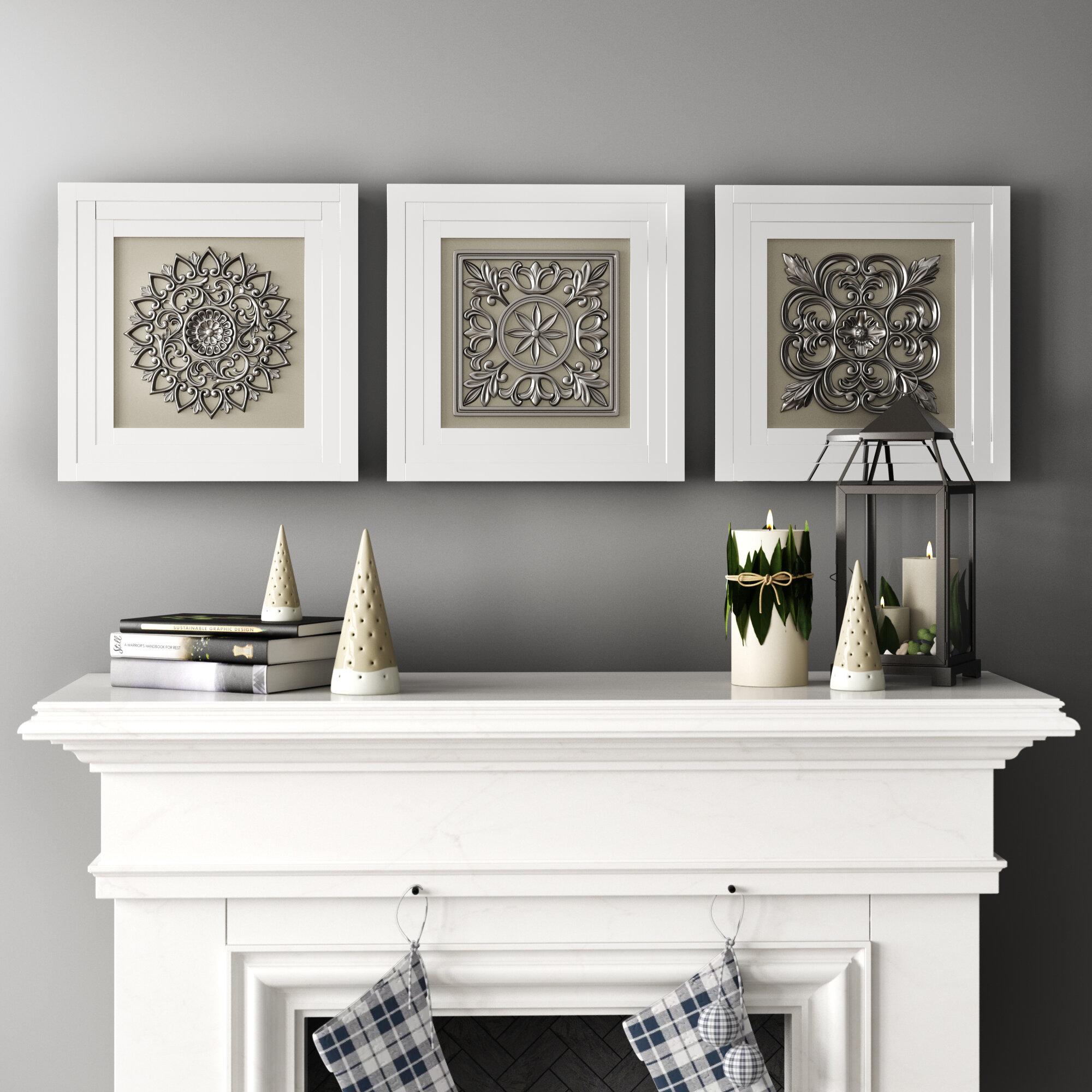 One Allium Way Elegant Styled Gray Metal Wall Art Set Reviews Wayfair