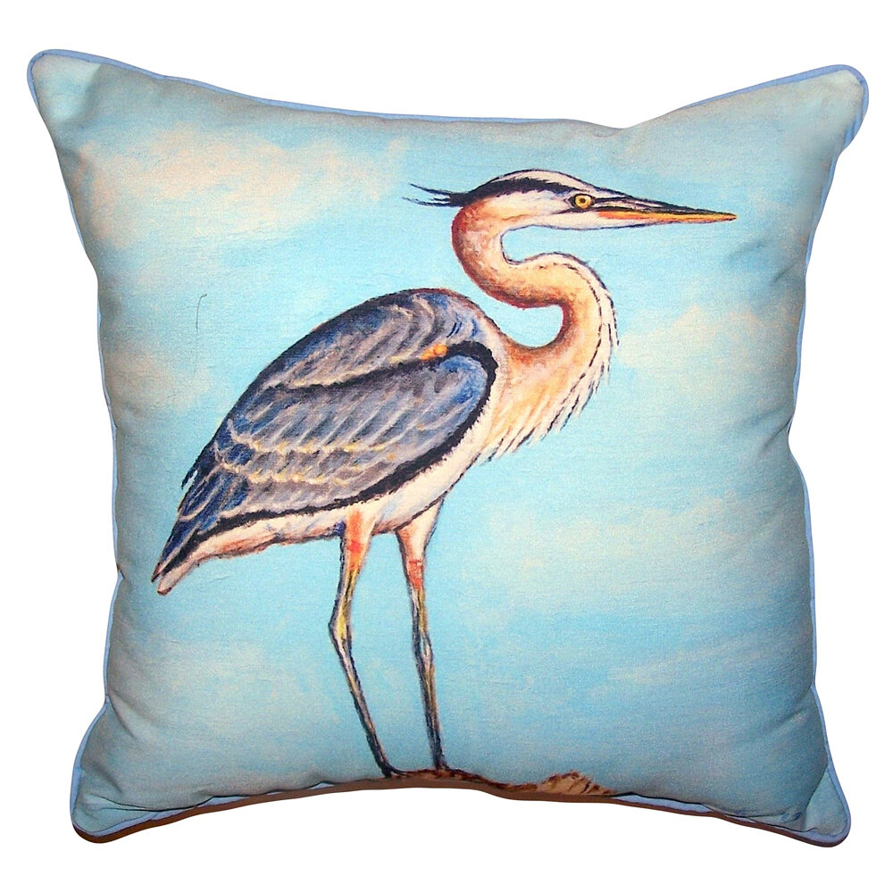 Highland Dunes Sevanna Heron On Stump Indoor Outdoor Throw Pillow Wayfair