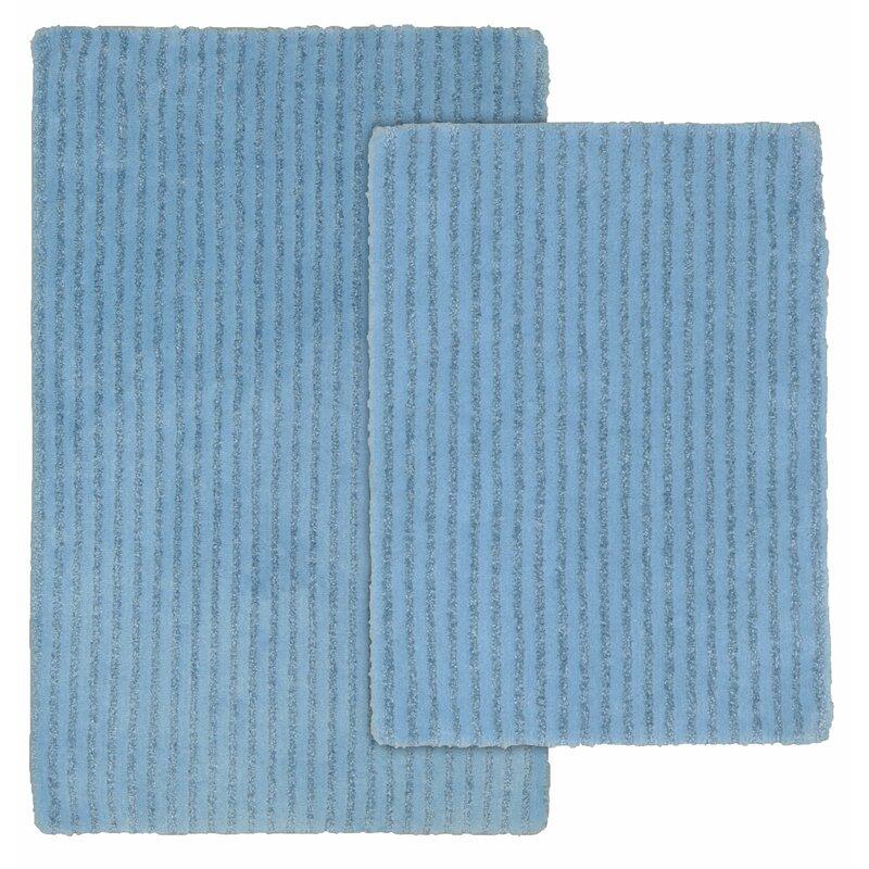 Three Posts Lucille Rectangle Nylon Non Slip Striped 2 Piece Bath Rug Set Wayfair