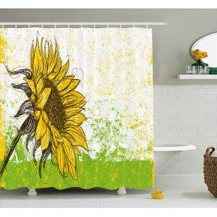 Acee Nature Print With Sunflowers Shower Curtain ByLatitude Run