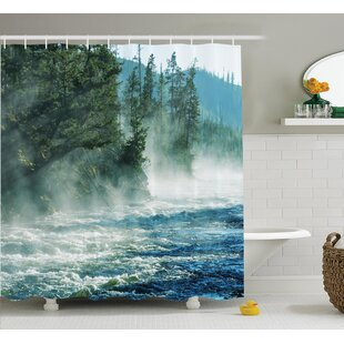 Gilbert Fog on River Alpine Trees By The Bank Wilderness Waterscape Picture Art Single Shower Curtain