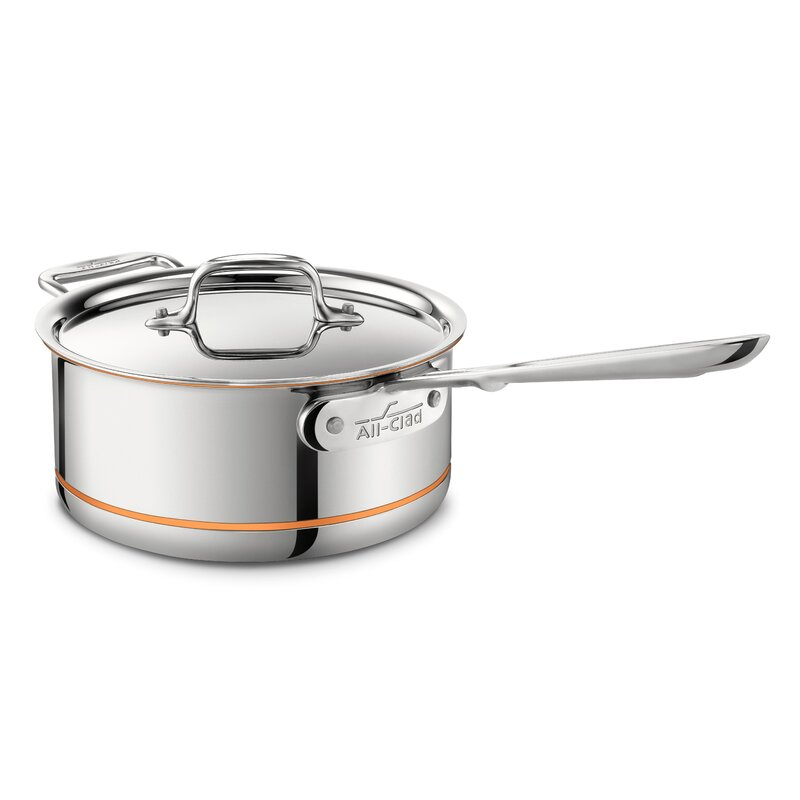 All-Clad Copper Core Saucepan with Lid and Loop Size: 3-qt.