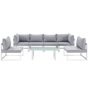 Fehi Outdoor Patio 7 Piece Sectional Seating Group with Cushions