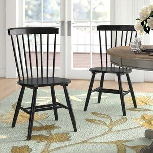 Waukegan Solid Wood Slat Back Side Chair in Black (Set of 2)