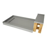 60 x42 Single Threshold Shower Base with Bench and Drain Top by Tile Redi