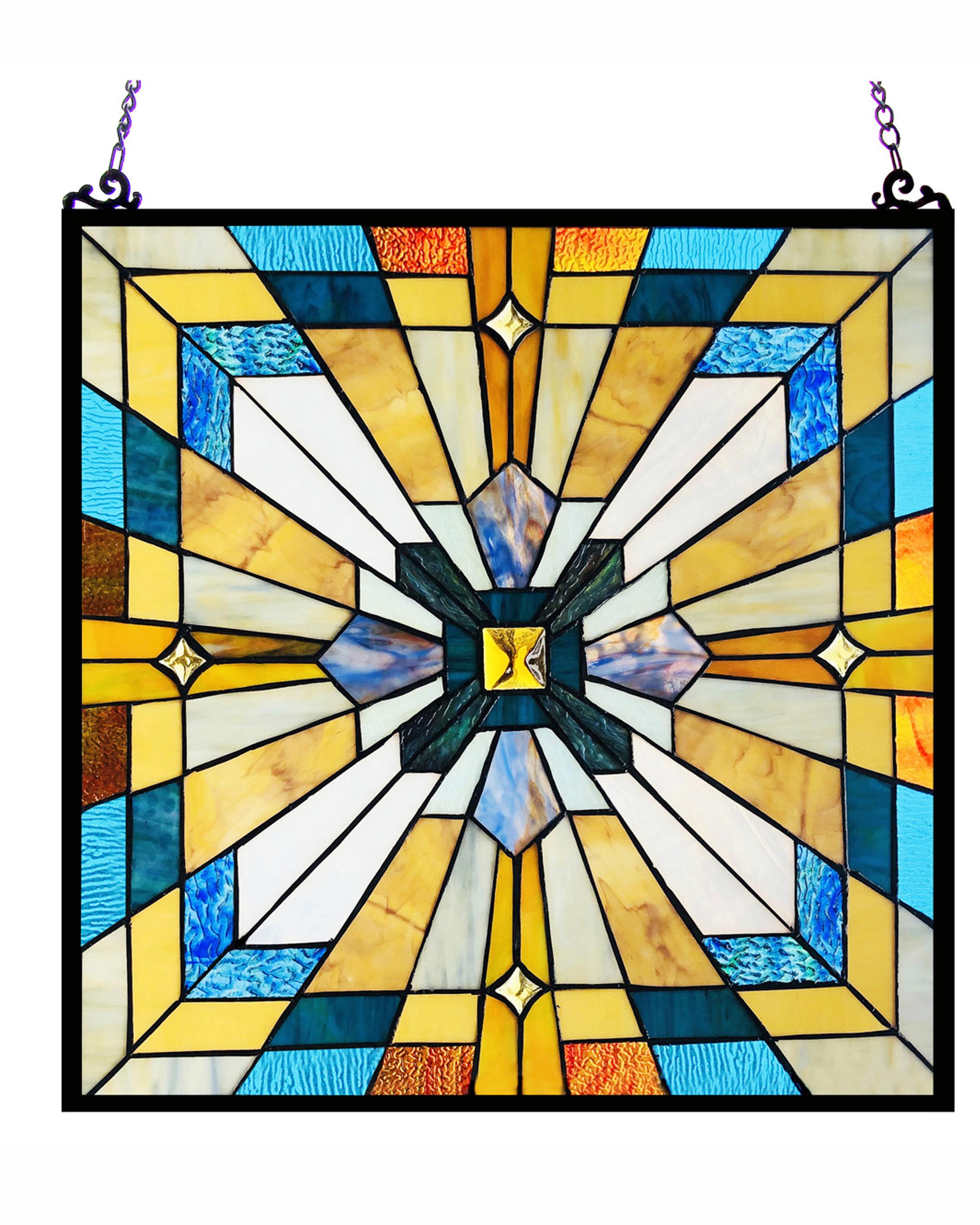 Rosalind Wheeler Godfrey Stained Glass Window Panel Reviews Wayfair