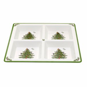 Christmas Tree Melamine Divided Serving Dish