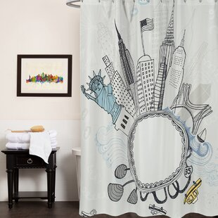 Fun New York City Print Single Shower Curtain