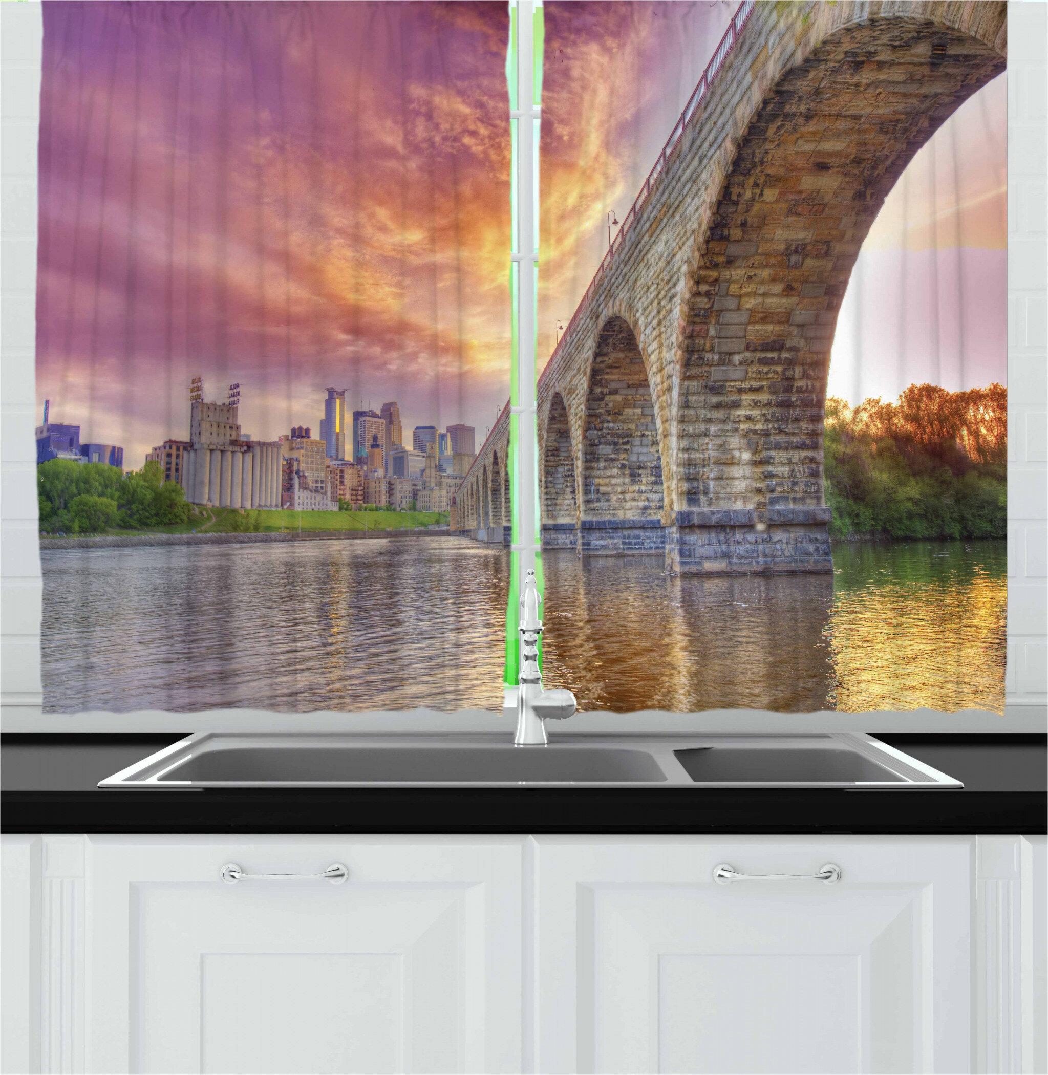 East Urban Home Minnesota 2 Piece Kitchen Curtain Set Wayfair