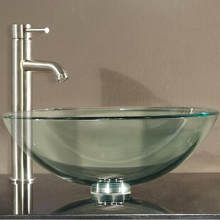 Compare prices Lammers Tempered Glass Circular Vessel Bathroom Sink with Overflow By World Menagerie