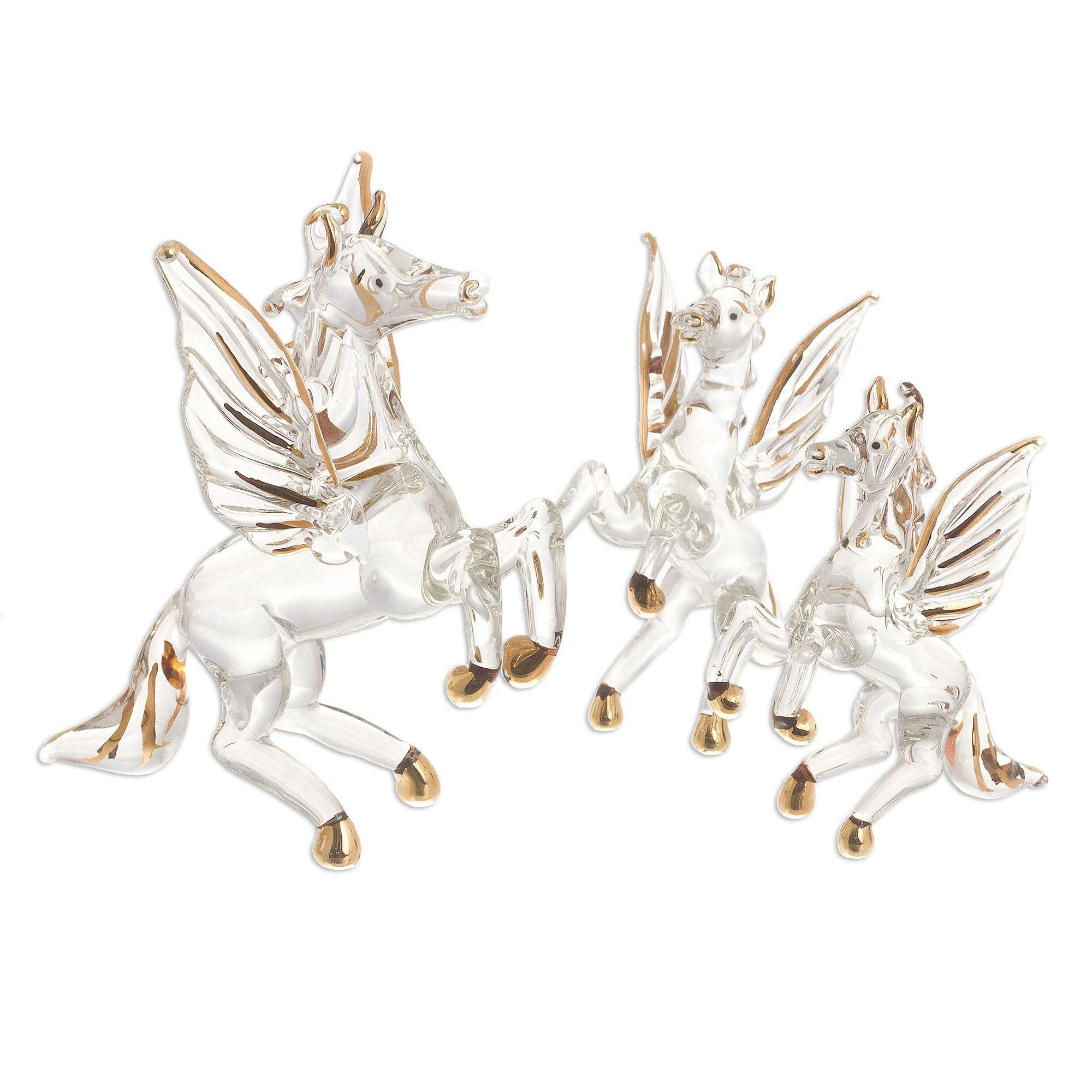 House Of Hampton 3 Piece Paras Rearing Pegasus Gilded Glass Figurines Set Wayfair