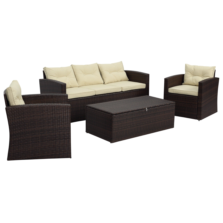 Arlington 4 Piece Wicker Sofa Seating Group with Cushions