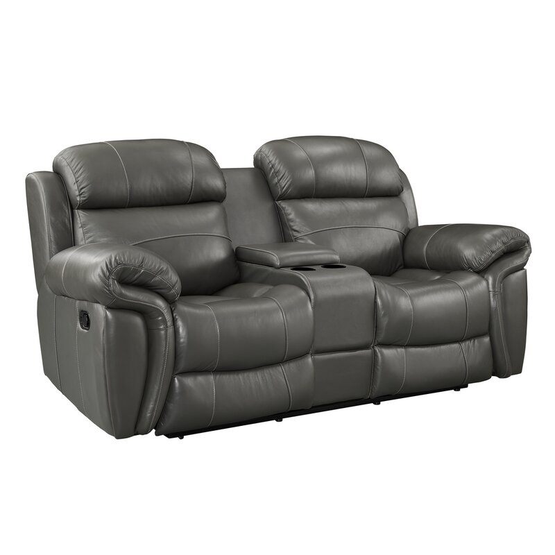 Red Barrel Studio Hatzieleftheriadis Leather Reclining Loveseat With