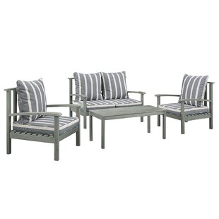 Rockwood Acacia 4 Piece Sofa Set with Cushions