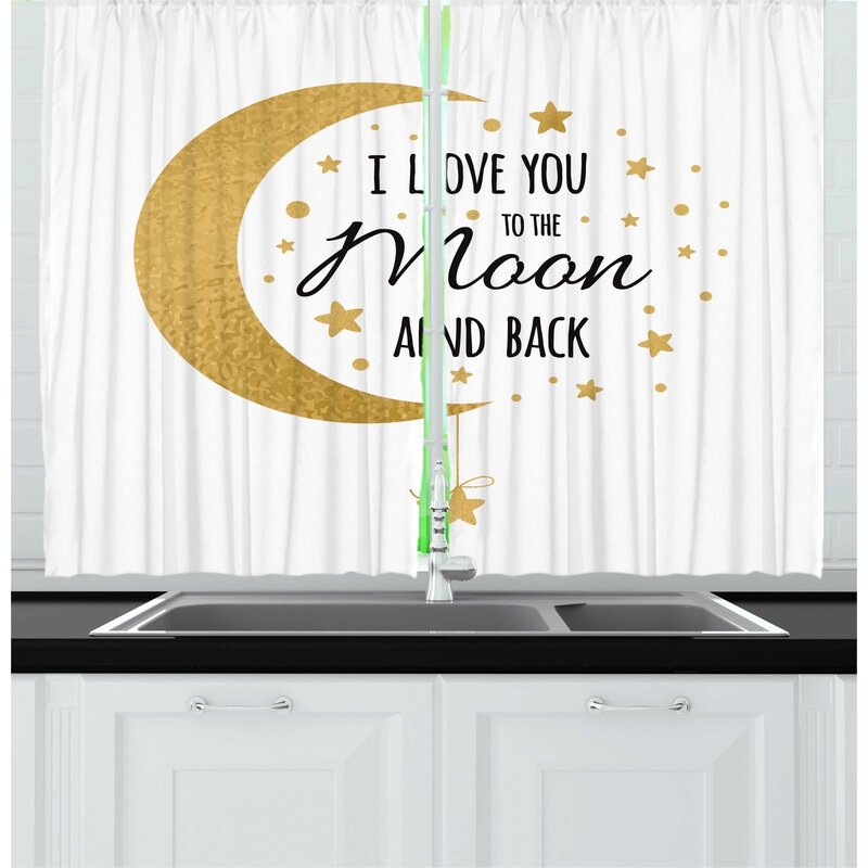 East Urban Home 2 Piece I Love You To The Moon And Back Crescent Moon Loving Feeling Stars Illustration Kitchen Curtain Set Wayfair