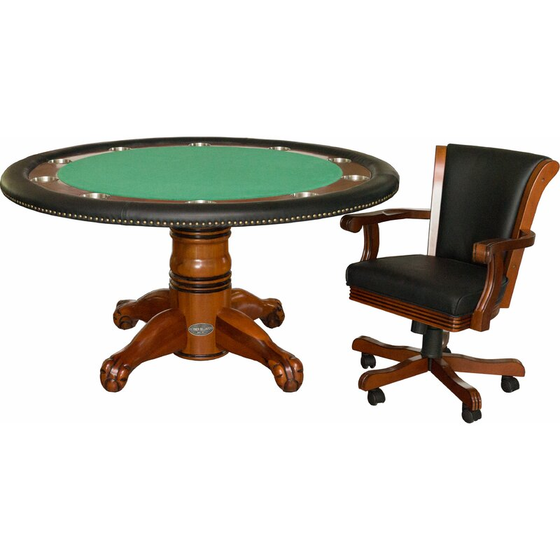 Berner Billiards 60 10 Player Poker Table With Chairs Wayfair