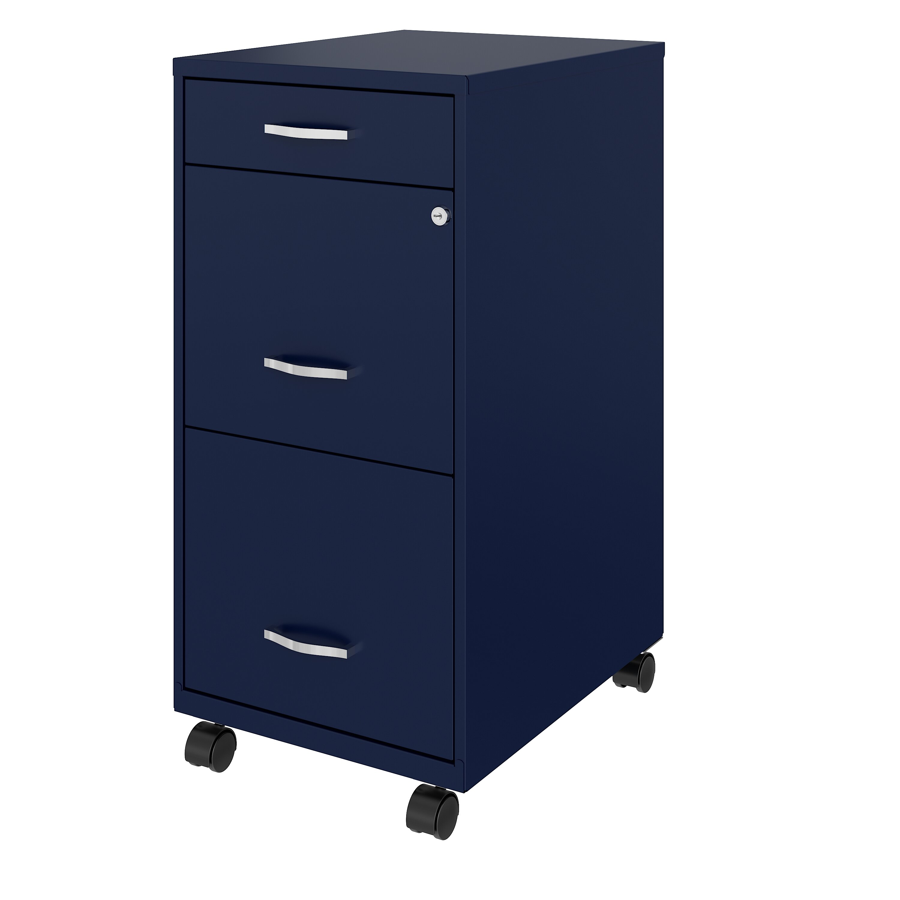 AUTSCA 3 Drawer Filing Cabinet Office Drawers with Lock Metal Mobile File Cabinet with Anti-tilt Mechanism Black Fully Assembled Except Wheels A4//Legal//Letter Size