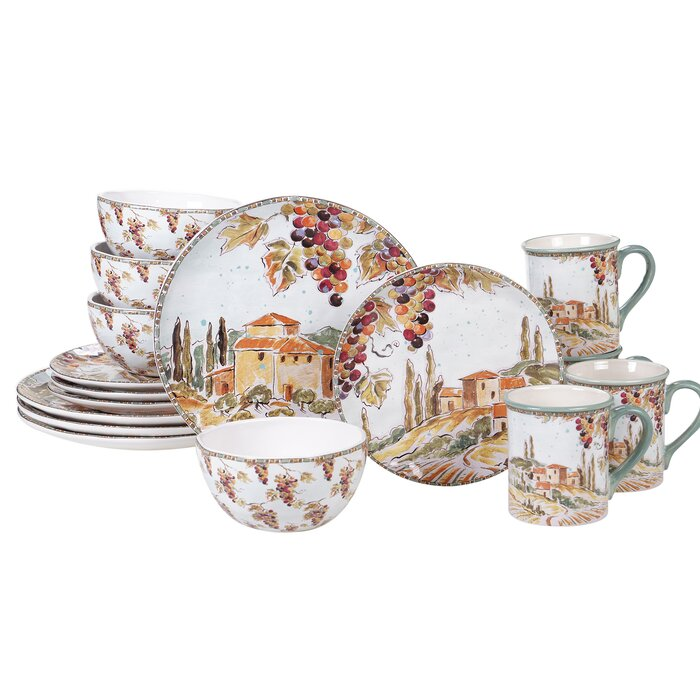 Pelkey 16 Piece Dinnerware Set, Service for 4