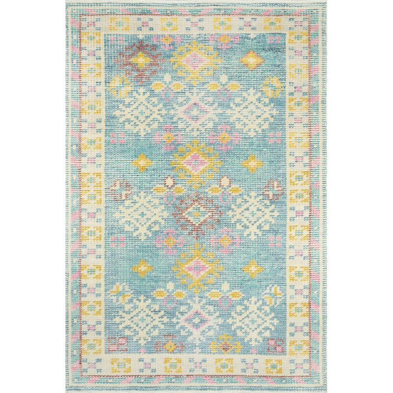 Jarvis Hand Knotted Wool Cotton Blue Pink Yellow Area Rug Joss Main