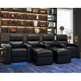 Contemporary Leather Home Theater Sofa Row of 4