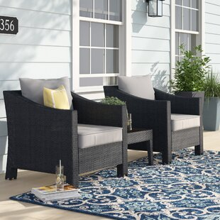 Portola 3 Piece Rattan Conversation Set with Cushion