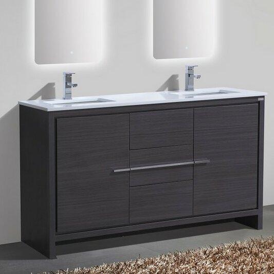 """Modern Bathroom Vanity And Sink mercury row bosley 60"""" double sink modern bathroom vanity"""