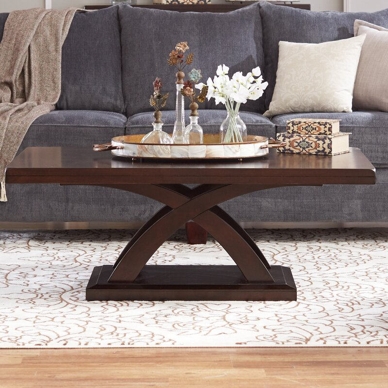 Winston Porter Claycomb Cross Legs Coffee Table With Storage
