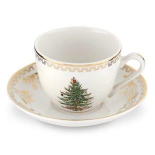 Christmas Tree Gold Teacup and Saucer (Set of 4)