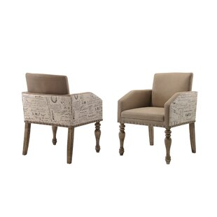 Dasher Script Set of 2 Printed Upholstered Dining Chair by One Allium Way