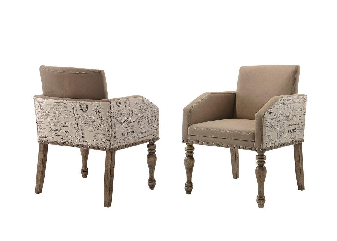 Dasher Script Set Of 2 Printed Upholstered Dining Chair By