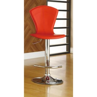 Tourelle Adjustable Height Swivel Bar Stool by Orren Ellis