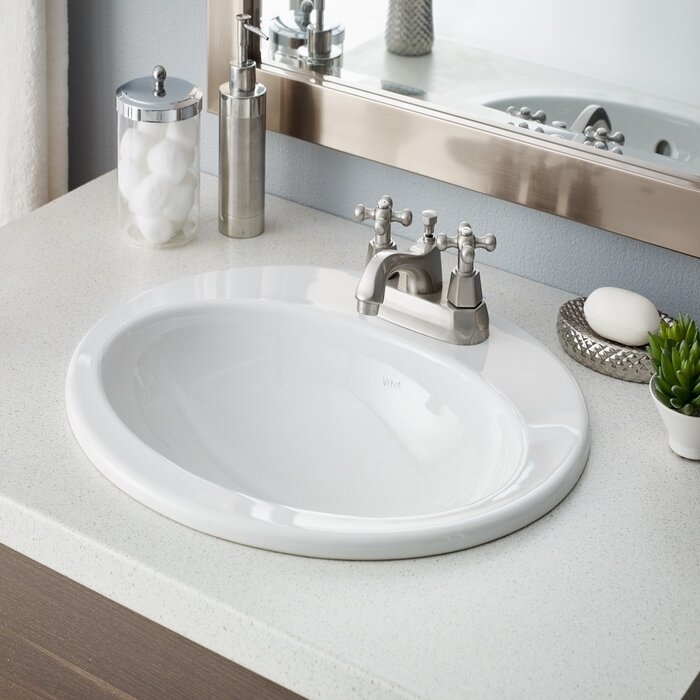 Aria Vitreous China Oval Drop In Bathroom Sink With Overflow