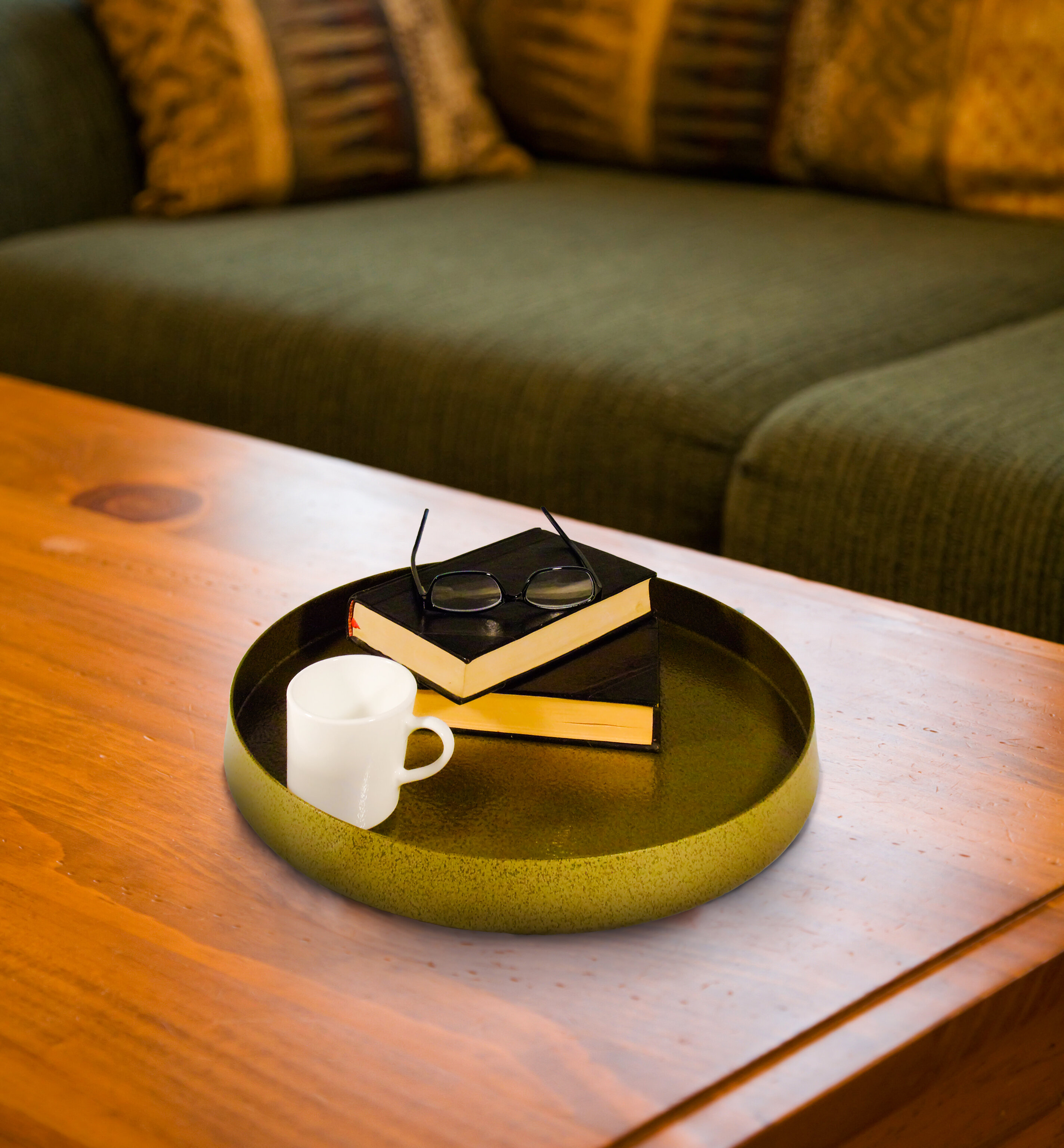 Ottoman Hexagonal Vintage Wood Serving Tray with Cutout Handles Nesting Serving Tray for coffee table Kitchen or Bed Large, Small Set of 2