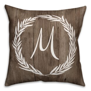 Brompton Wreath Initial Throw Pillow