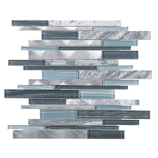 Slender Random Sized Mixed Material Tile in Blue/Gray