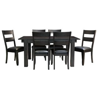 Alder 7 Piece Solid Wood Dining Set Loon Peak