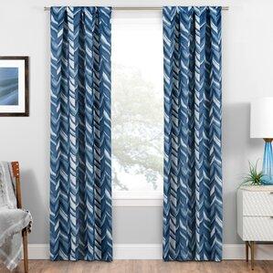 Avah Chevron Blackout Thermal Rod Pocket Single Curtain Panel