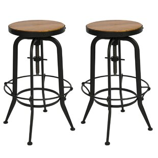 Gracie Oaks Dunamoy Adjustable Height Swivel Bar Stool (Set of 2)