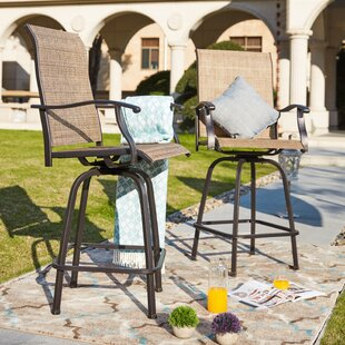 Harkey Sling Metal Swivel Patio Dining Chair (Set of 2)