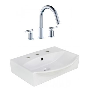 Where buy  Ceramic Rectangular Bathroom Sink with Faucet and Overflow ByAmerican Imaginations