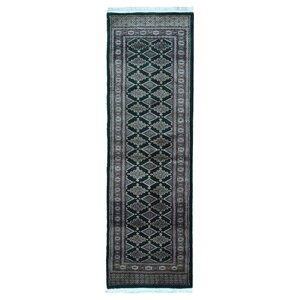 One-of-a-Kind San Gabriel Royal Bukhara Hand-Woven Silk, Wool Green Area Rug