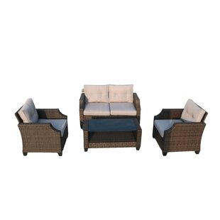 Colne 4 Piece Rattan Sofa Seating Group with Cushions