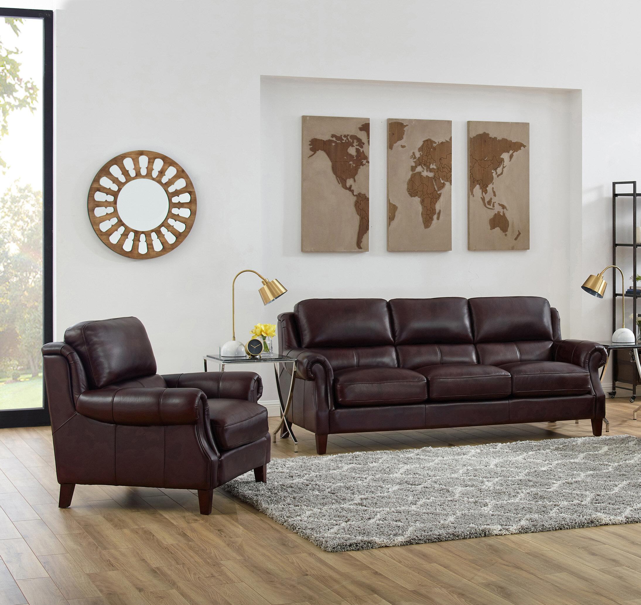 Charlton Home Sorens 2 Piece Leather Living Room Set Wayfair Ca