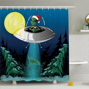 Compare prices Outer Space Alien with Santa Claus Hat Kidnaps Tree for Christmas Night Airship Print Shower Curtain Set ByAmbesonne