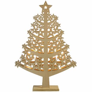 pre lit star wood christmas tree table decoration - Large Wooden Christmas Decorations