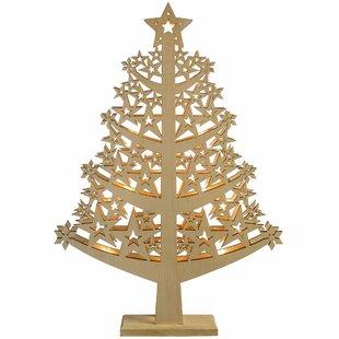 Pre-Lit Star Wood Christmas Tree Table Decoration