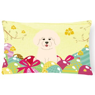 Easter Eggs Bichon Frise Lumbar Pillow