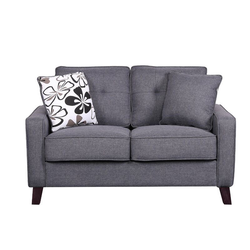 Andover Mills Dmitri 51 Square Arms Loveseat Reviews Wayfair
